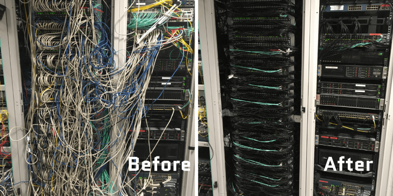 before and after images of comms room maintenance showing messy cables before maintenance and organised cables after maintenance